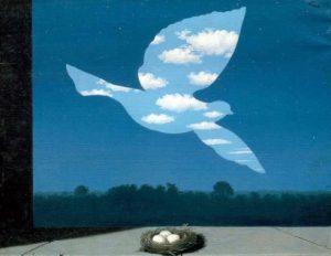 Rene Magritte vogel lucht